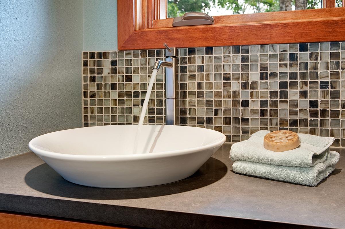 bathroom remodel custom sink and tile - Henderer Design + Build