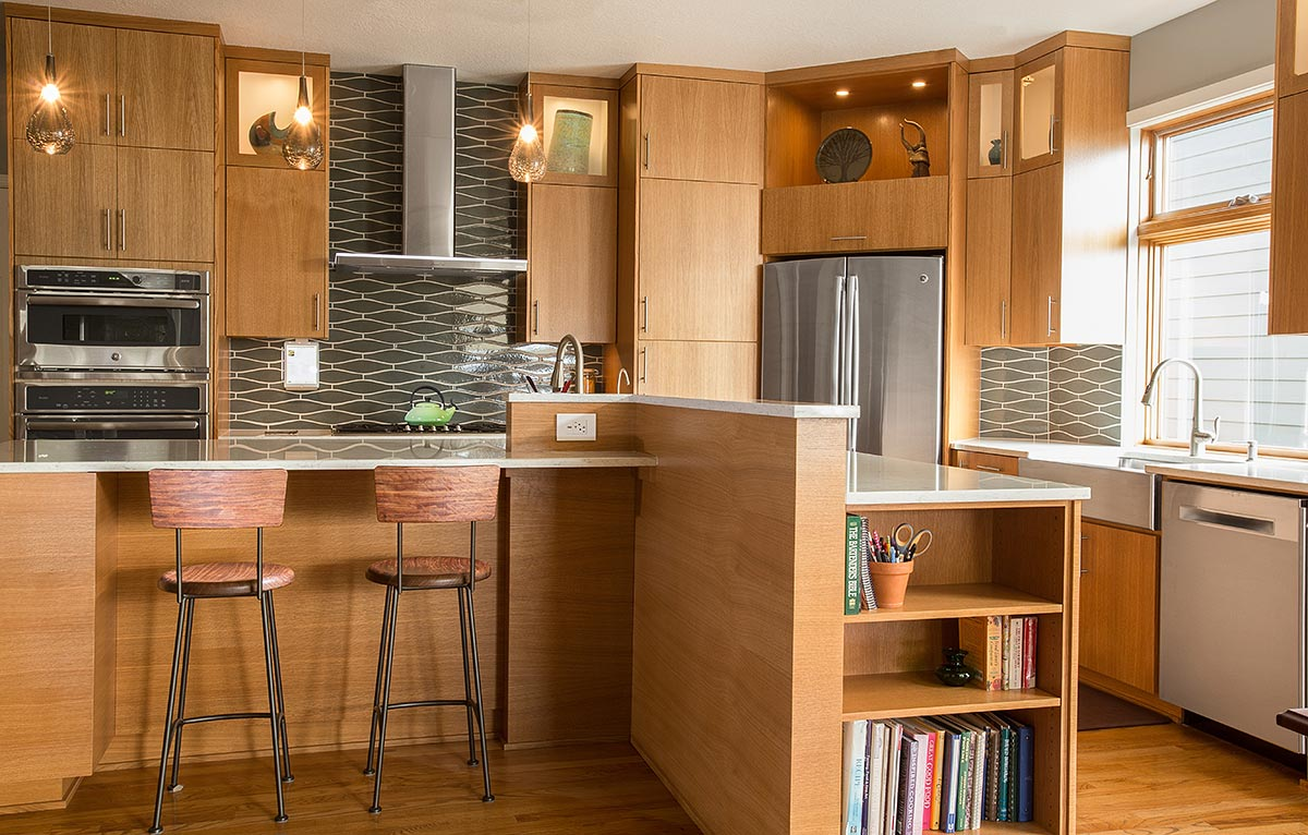 kitchen remodel or - kitchen has custom cabinets and island - Henderer Design + Build