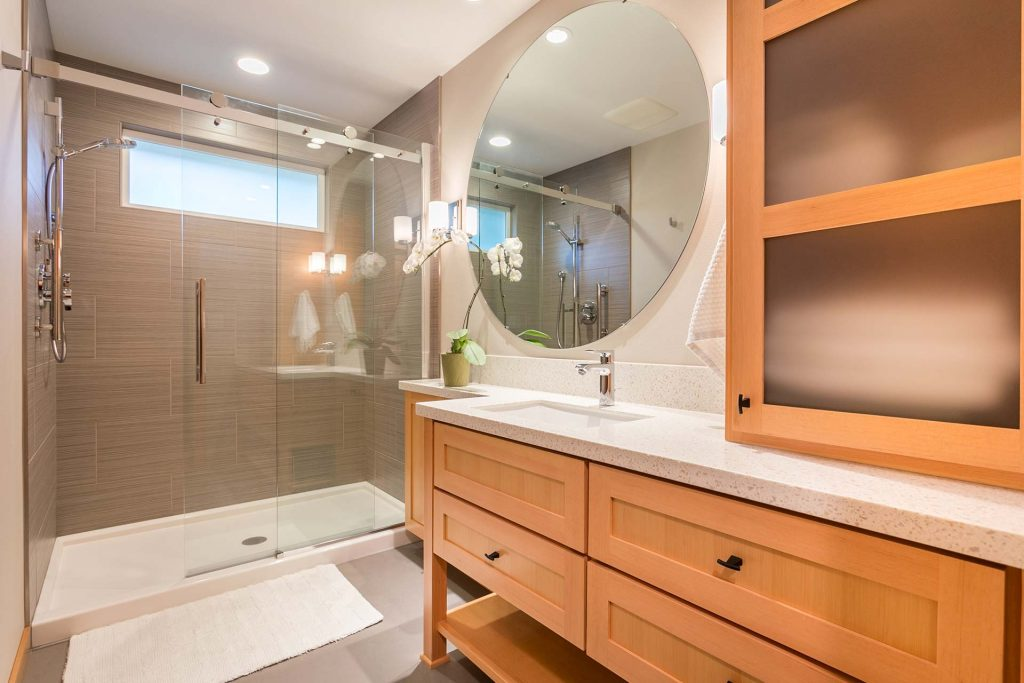 asian inspired bathroom remodel by Henderer Design Build