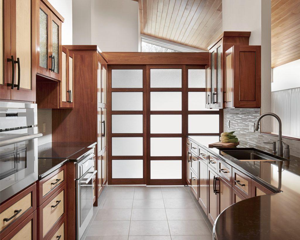 Asian-inspired galley kitchen design