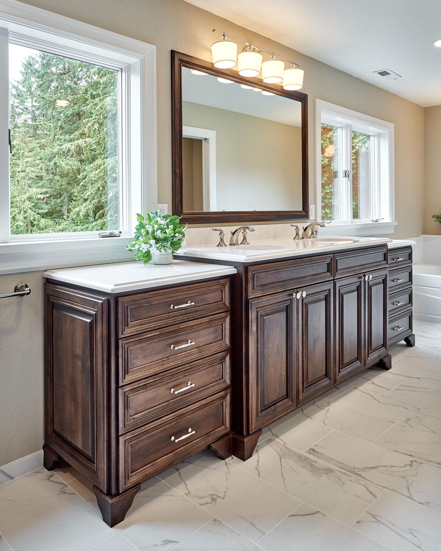 custom vanity in a traditional master bathroom remodel - Henderer Design + Build + Remodel