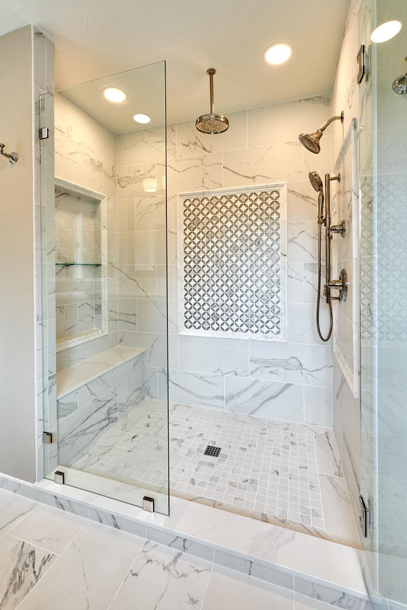 custom shower in a traditional master bathroom remodel - Henderer Design + Build + Remodel