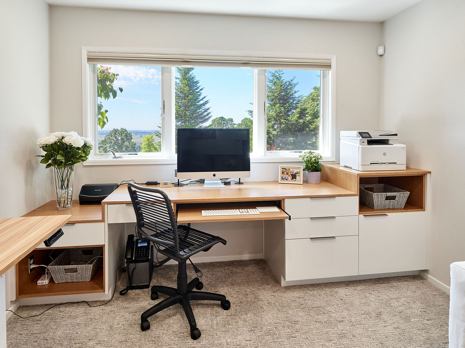 Basement remodel includes home office design. Custom home remodel from Henderer Design + Build + Remodel