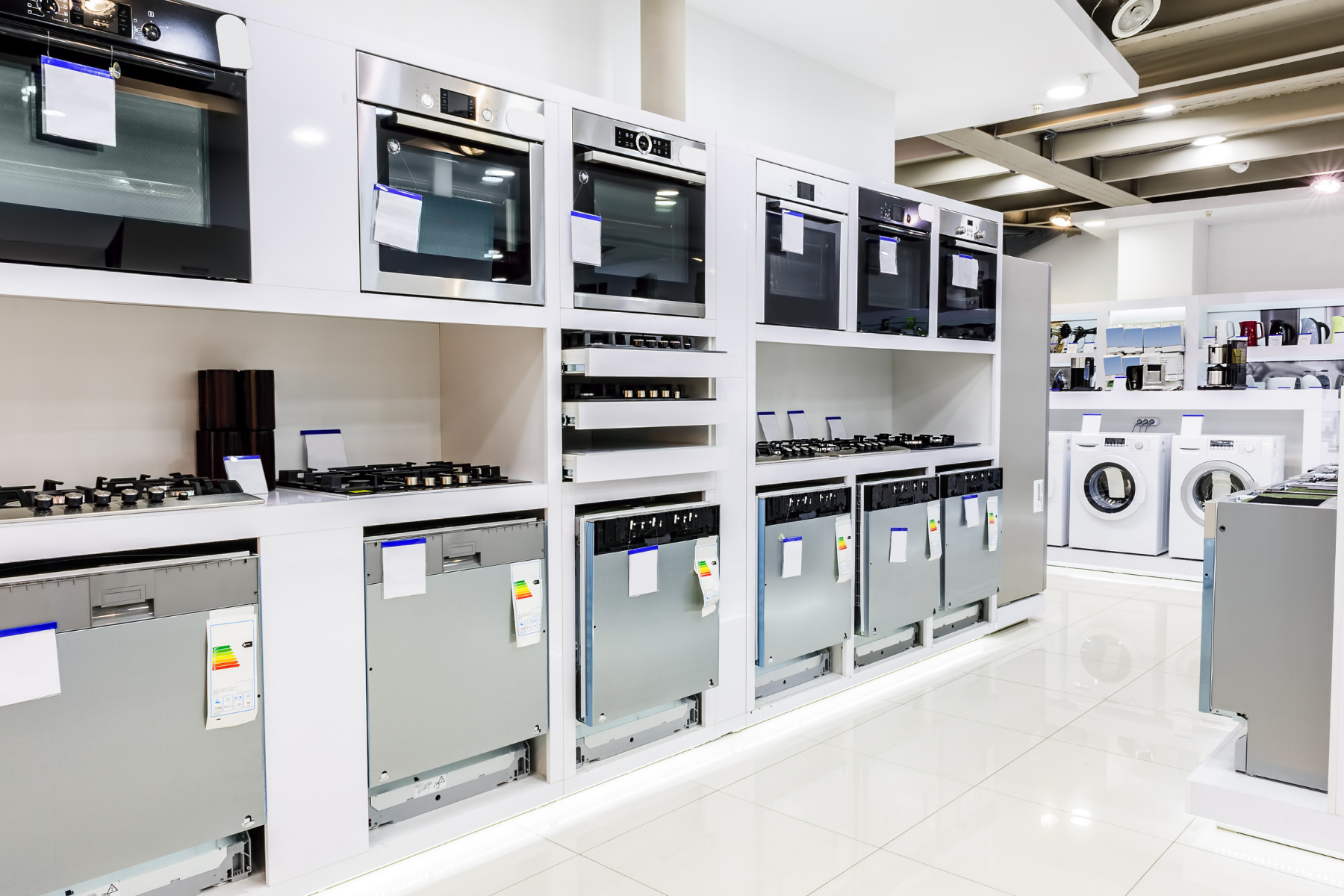 appliances in store showing appliance shortage