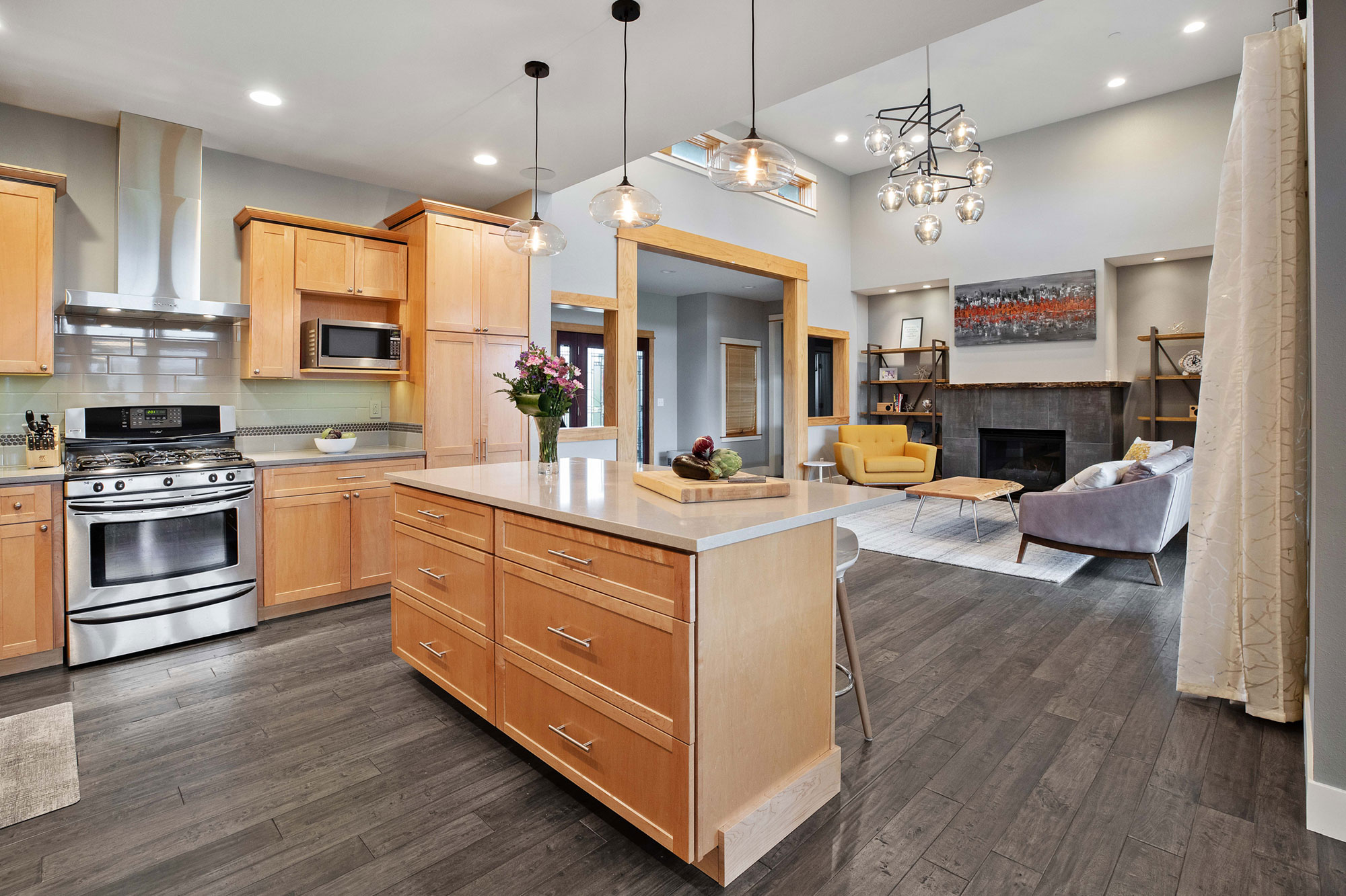 design style mid century modern open concept kitchen to living