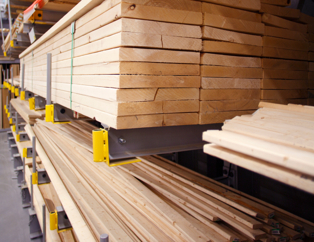 Material costs and lead times. lumber stacked on hardware shelves.